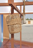 Closeup of date palm basket for storage of oyster Stock Photo