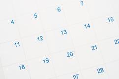Closeup of dates on calendar. Stock Photography