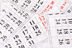 Closeup of dates on calendar page Stock Photography