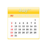 Closeup of dates on calendar page Royalty Free Stock Image