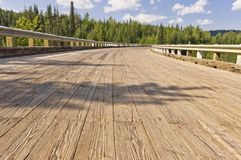 Closeup of wooden bridge deck Royalty Free Stock Images