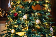 Closeup of decorated christmas tree stock images