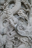Closeup of a decorated stone column at the Po Lin Monastery Stock Photography