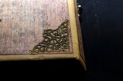Closeup of a decorative element on a cover of handmade ancient-looking photoalbum.  Royalty Free Stock Image