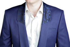 Closeup deep blue blazer, shawl collar with a wide lapel. Royalty Free Stock Images
