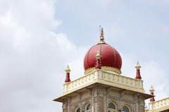 Closeup of deep pink marble dome of Mysore palace Stock Photos