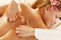 Closeup of deep tissue massage Stock Photos