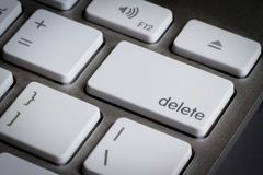 Closeup of delete key in a keyboard. Stock Photos