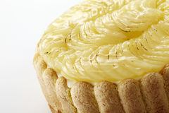 Closeup delicate pear cake on white background  Royalty Free Stock Photos