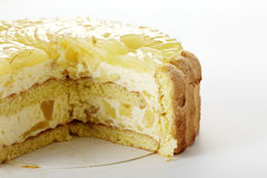 Closeup delicate pear cake on white background. Shot in studio Royalty Free Stock Images