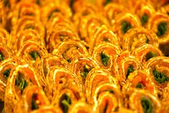 Closeup of delicious arabic sweets. Dubai United Arab Emirates,on 22 JULY 2017. Eastern sweets on the market. Close-up. Top view. Looks classy and very yummy Stock Images