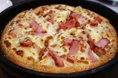 Closeup of Delicious Bacon and Cheese Pizza. At the Pizzeria royalty free stock images