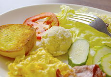 The closeup of delicious breakfast stock photos