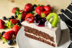 Closeup delicious fresh dessert strawberry orange kiwi fruit wit Stock Photo