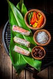Closeup of delicious and fresh spring rolls on green leaf stock image