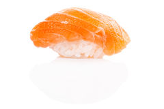 Closeup of delicious japanese salmon sushi isolated on white Royalty Free Stock Photo