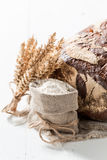 Closeup of delicious loaf of bread with whole grains stock images