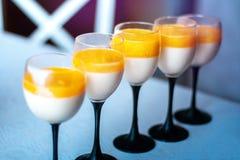 Closeup of delicious Orange Pana cotta. Close up of delicious Orange Pana cotta stock photography