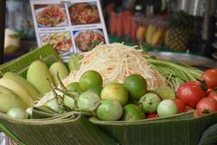 Closeup of delicious papaya salad Som Tam on a local street food market chatuchak market in Thailand, Asia. Closeup of delicious papaya salad Som Tam on a local Stock Image