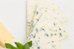 Closeup of delicious sliced roquefort cheese. Royalty Free Stock Photography