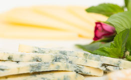 Closeup of delicious sliced roquefort cheese. Royalty Free Stock Image