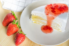 Closeup delicious sweet dessert fresh strawberry syrup sauce and Royalty Free Stock Photography