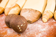 Closeup delicious varities of fresh bread Stock Photography