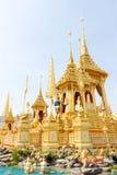 Closeup den tillagda arkitekturen runt om den kungliga krematoriet i Thailand på November 04, 2017 Fotografering för Bildbyråer