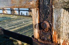 Closeup of a derelict jetty Stock Image