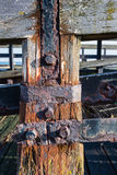 Closeup of a derelict jetty Stock Photos