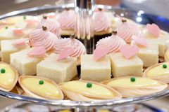 Closeup dessert on buffet line Royalty Free Stock Image