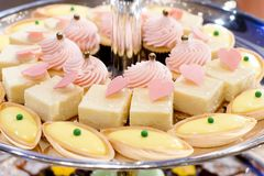 Closeup dessert on buffet line Royalty Free Stock Photo