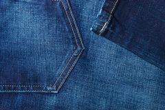 Closeup detail of blue denim pocket Stock Photos