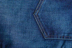 Closeup detail of blue denim pocket Stock Photo