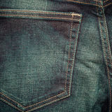 Closeup detail of blue denim pocket Royalty Free Stock Photography