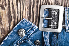 Closeup detail of a blue jeans Stock Photos
