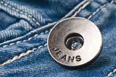 Closeup detail of a blue jeans Royalty Free Stock Photography