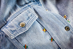 Closeup detail of blue vintage denim jacket Royalty Free Stock Photography