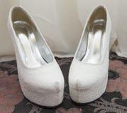 Closeup detail of bridal shoes Stock Images