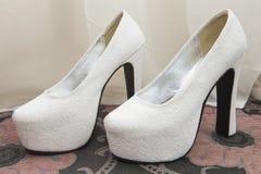 Closeup detail of bridal shoes Stock Image