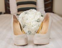 Closeup detail of bridal stiletto shoes Stock Image