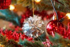 Closeup detail of Christmas decoration on tree Stock Photos