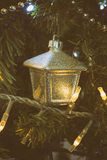Closeup detail of christmas tree with decorations analog camera style Stock Photography