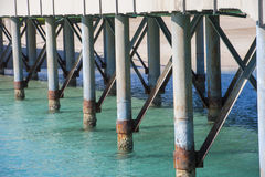 Closeup detail of metal pier supports Stock Photo