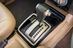 Closeup detail of modern car interior. Automatic transmission car. Select focus royalty free stock photos