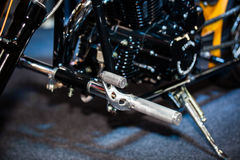 Closeup of detail a motorcycle footrest Royalty Free Stock Photos