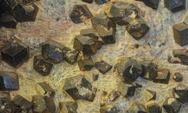 Detail of almandine crystals. Closeup detail of the natural almandine crystals stock image