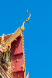 Closeup detail of ornately decorated temple roof in bangkok Royalty Free Stock Images