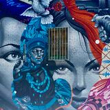 Tristan Eaton mural closeup. Closeup detail on the partial view of a Tristan Eaton mural located in the Arts District of Los Angeles, California (USA Stock Image