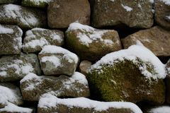 Closeup detail of Snow-covered drystone wall Royalty Free Stock Image